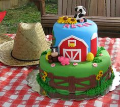 barnyard birthday cake - Google Search