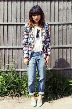 Boyfriend Jeans + Floral Blazer