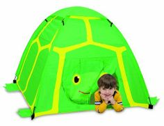 "Melissa & Doug Sunny Patch Tootle Turtle Camping Tent: Turn any room into a Sunny Patch adventure land with this easy-to-set-up tent. The bold graphics invite children to enter the turtle's ""shell"" for hours of fun! Outdoor Toys, Outdoor Play, Toddler Furniture, Kids Tents, Play Tents, Turtle Love, Melissa & Doug, Pretend Play, Tent Camping"