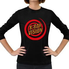 Comic+Book+X+Ray+Vision+Red+Spiral+Women's+Long+Sleeve+Dark+T-Shirts