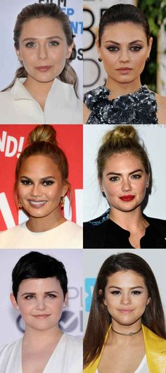Celebrity examples of the round face shape. Celebrity examples of the round face shape. Eyebrow For Round Face, Round Face Makeup, Hair For Round Face Shape, Make Up Round Face, Round Face Bob, Eyebrows For Oval Face, Contour For Round Face, Shape Eyebrows, Oval Face Celebrities