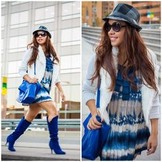 Say What Faux Fur Cardigan, Charlotte Russe Knee High Boots, Forever 21 Shift Dress, Hat