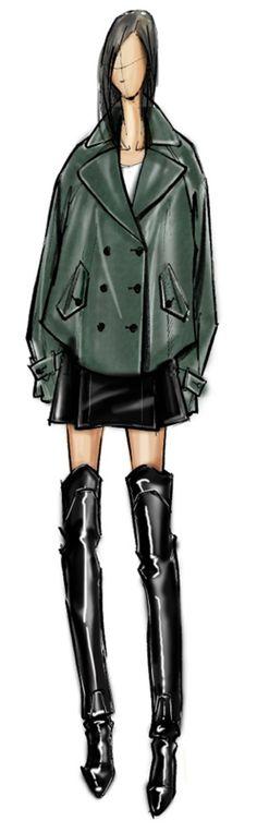 Rebecca Minkoff Fall 2014 Sketch Fashion Illustration Sketches, Fashion Design Sketches, Fashion Sketchbook, Graphic Design Illustration, Fashion Drawings, Fashion Maker, Fashion Art, Fashion Portfolio, Fashion Boutique