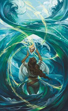 Ocean Magic, an art print by Julie Dillon Black Girl Art, Art Girl, Fantasy Character Design, Character Art, Sea Witch, Magic Art, Fantasy Artwork, Art Plastique, Fantasy World