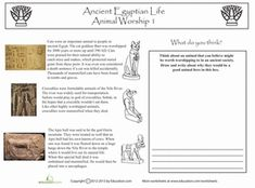 Middle School Social Studies Worksheets: Animal Worship in Ancient Egypt. World history. Printables. Worksheets.