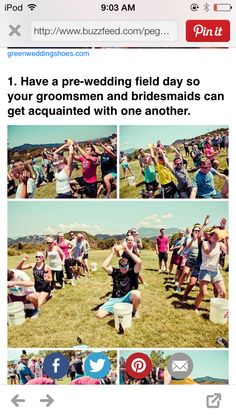 pre-wedding field day, bridesmaids vs groomsmen to get acquainted and rid pre wedding jitters.read about it. This is seriously super rad. Do day before wedding before bachelor and bachelorette parties? When I Get Married, I Got Married, Getting Married, Dream Wedding, Wedding Day, Perfect Wedding, Wedding Events, Wedding Stuff, Destination Wedding
