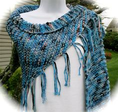 Hand knit chunky shawl. fringed shawl, spring summer shawl, prayer shawl, bulky knit shawl, chunky knit wrap in shades of blue with pink