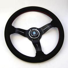 Nardi Deep Corn Steering Wheel Blk suede Red stitch Blk spokes 330mm