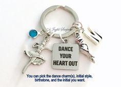 Teenage Girl Teen Key Chain Ballerina Present Ballet Keyring Gift for Dancer Keychain Purse Charm Planner Birthday Jewelry Crystal Heart