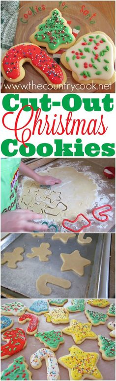 Fail-Proof Cut-Out Sugar Cookies and simple icing recipe from The Country Cook christmas cooking ideas dinners Christmas Sugar Cookie Recipe, Sugar Cookies Recipe, Holiday Cookies, Holiday Treats, Cake Cookies, Christmas Snacks, Christmas Cooking, Christmas Goodies, Christmas Candy