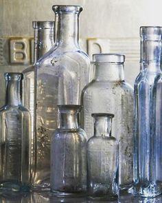 Old Bottles from Homegirl London Colored Glass Bottles, Antique Glass Bottles, Empty Bottles, Vintage Bottles, Bottles And Jars, Glass Jars, Perfume Bottles, Vintage Perfume, Mason Jars