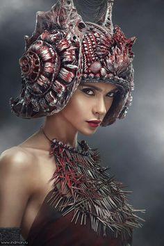Inspired by Slavers of Zygerria Avant Garde Hair, Fantasy Costumes, Colored Highlights, Halloween Kostüm, Headgear, Hair Jewelry, Headdress, Costume Design, Wearable Art