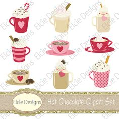 Hot Chocolate Clipart Set  Instant Download by ElcieDesigns