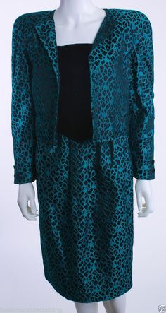 VALENTINO NIGHT 1990'S PRINT BLACK TEAL 2 PIECE JACKET STRAPLESS DRESS SZ 08  #ValentinoNight #SkirtSuit