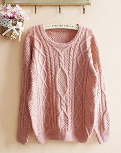 Pink Loose Hemp Flowers Retro Sweater, so beautiful