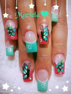 Cute Nail Art, Gorgeous Nails, Spring Nails, Toe Nails, Acrylic Nails, Nail Designs, Beauty Tips, Finger Nails, Lips