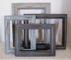 shabby chic open picture frames set of 4 in shades of grey