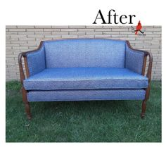 Meet Camille! This pretty settee passed quickly through our workroom this week. After some careful consideration, our client landed on a Brookston-Demin chenille from Mitchell Fabrics. Excellent choice! The bright white and bold blue is a lovely contrast to the warm brown of the wood, and the classic diamond pattern provides a cool counterpoint against the elegantly carved wood. Settee, Carved Wood, Diamond Pattern, Consideration, Love Seat, Contrast, Fabrics, Carving, Meet