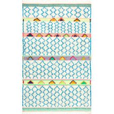 Nuloom Hand Knotted Yelena Trellis Shag Area Rug, Size: x White Kids Area Rugs, Wool Area Rugs, Blue Area Rugs, Wool Rug, Moroccan Pattern, Area Rug Sizes, Hand Tufted Rugs, Colorful Rugs, Decorative Pillows