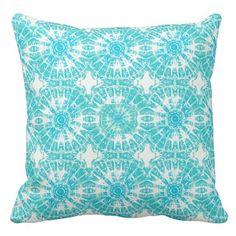 Tiffany+Blue+and+White+Tie+Dye+Print+Pillow