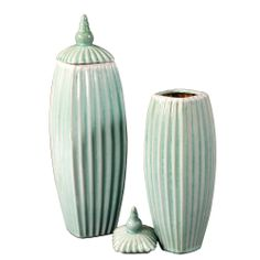 Howard Elliott Collection - Tiffany Blue Glaze Ribbed Ceramic Vases w/ Lids - set of 2
