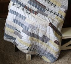 Running With Scissors: memory quilt. love that it's mismatched and forgiving! machine quilting down the center of the strips. Crafts To Do, Diy Craft Projects, Sewing Projects, Craft Ideas, Dad To Be Shirts, Men's Shirts, Work Shirts, Low Volume Quilt, Man Quilt