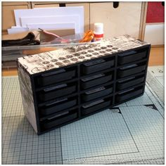 Monday Mash Up - DIY Tim Holtz Distress Inkpad Storage - Foam Board could use for doll house