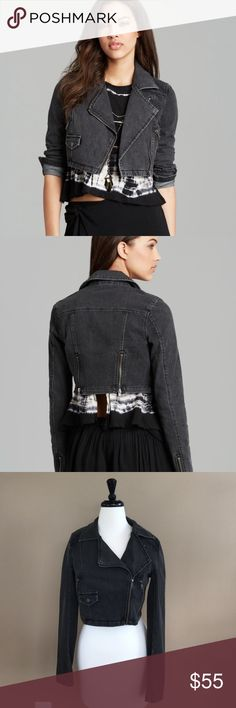 • Free People • Cropped Black Motto Denim Jacket S - Free People - Cropped Motto Jacket - Black Denim - Small - Excellent Condition Free People Jackets & Coats