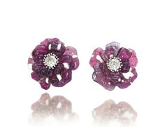 A pair of tourmaline, agate and diamond camellia brooches, by JAR