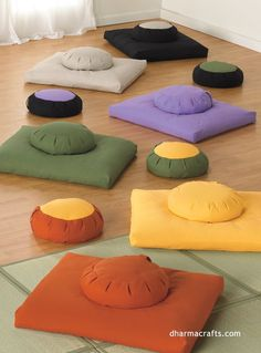 Organic and Eco meditation cushions in a rainbow of colors! Brighten up your meditation space with stone, fern, pumpkin, sunshine, lavender and black. #dharmacrafts