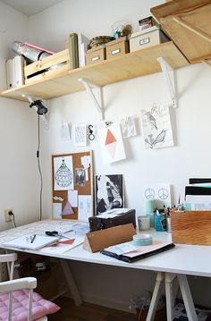 Wide White Desk, High Wood Shelves, Garland of Inspiration, Natural Light // workspace