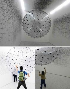 Imagine--a big balloon covered in charcoal in a white room where the participants create the art--brilliant!