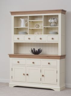 Country Cottage Painted Funiture Cabinet Cream Large Dresser Oak Furniture Land Www Oakfurnitureland