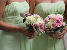 The Bridesmaids Bouquets included lots of luscious green Hydrangea and Viburnum Opulus to compliment their green gowns, in contrast I included pink Miranda & Sweet Avalanche Roses, Bouvardia, Ivory Patience & Akito Roses and Wax Flower Blossom.