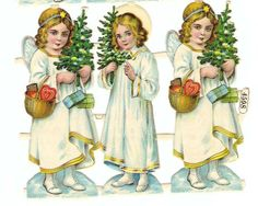 Snow Angels, Christmas Angels, Kids Christmas, Christmas Crafts, Vintage Christmas Images, Victorian Christmas, Engle, Victorian Angels, Paper Scraps