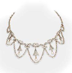 Pearl and Diamond Necklace  Tiffany & Co., circa 1900