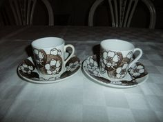 Vintage Swedish Set of two wonderful coffee cups and saucers Emma by Gustavsberg Paul Hoff design by AnnChristinsVintage on Etsy