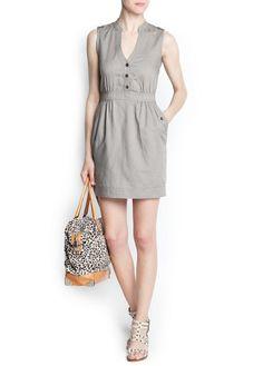 MANGO - NUEVO - Vestidos - Vestido camisero lino y algodón
