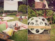 """backyard movie night - I *love* this idea! my favorite photo was of the sign that read, """"take a sheet & grab a seat"""". how fun would it be to have a monthly outdoor family movie night out here at the camp? Backyard Movie Party, Outdoor Movie Party, Backyard Movie Nights, Outdoor Movie Nights, Movie Night Party, Party Time, Backyard Parties, Diy Cadeau, Adult Birthday Party"""