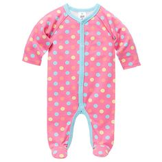Girls' Cotton Elastane Coverall - Pink Dots