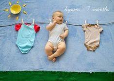 Bebé en tendedero con sol