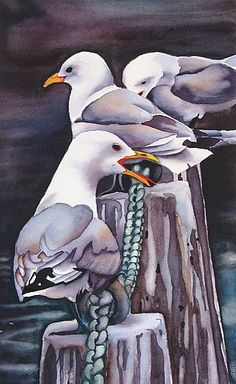 Solveig Rimstad - Seagulls - Watercolor