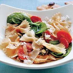 Farfalle with Tomatoes, Onions, and Spinach | CookingLight.com