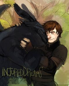 Drawn by injureddreams ...  How to train your dragon, toothless, hiccup, night fury, dragon, viking