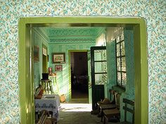 Wall decorated with patterned paint rollers | Ethno-house, Maradik | Photo: K. Košić