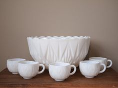 Vintage milk glass punch bowl set