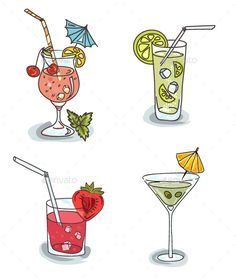 Different Cocktails with Fruit