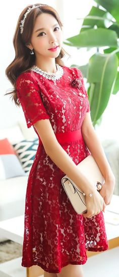 StyleOnme_Floral Lace Short Sleeve Flared Dress #red #floral #lace #dress #cute…