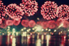 pink fireworks blurred