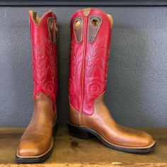 "adc0fc421ad Beck Cowboy Boots on Instagram  ""In stock boots. 16"" Red uppers with  Football steer vamps"